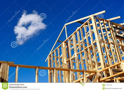 Free House Blueprints And Plans Detail Of House Frame Under Construction Royalty Free