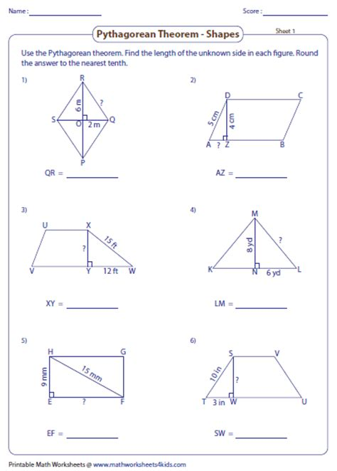 pythagorean theorem worksheet pythagorean theorem worksheets