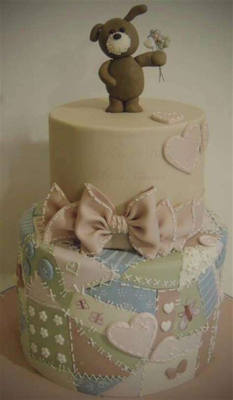 Patchwork Cakes - patchwork quilt and teddy cake cakes