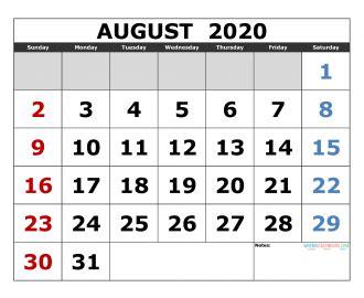august  printable calendar template excel  image  edition  printable