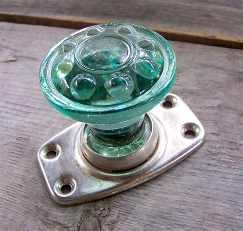Green Glass Door by Vintage Green Glass Door Handle Door Knob Home By