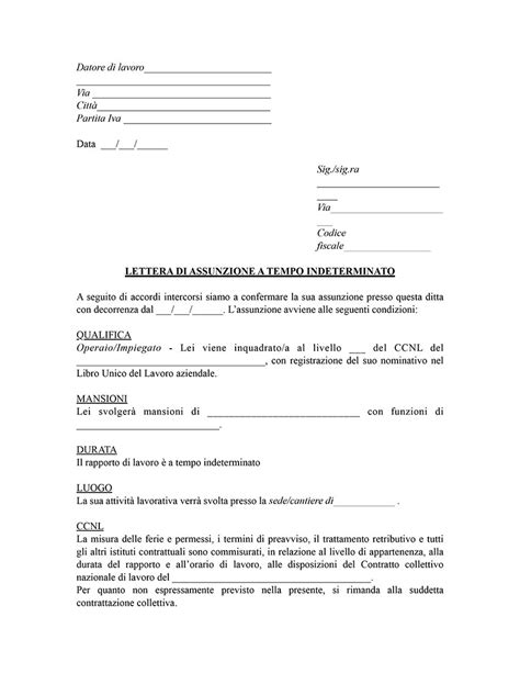 lettere di assunzione modelli fac simile di contratti di lavoro gratis editabili