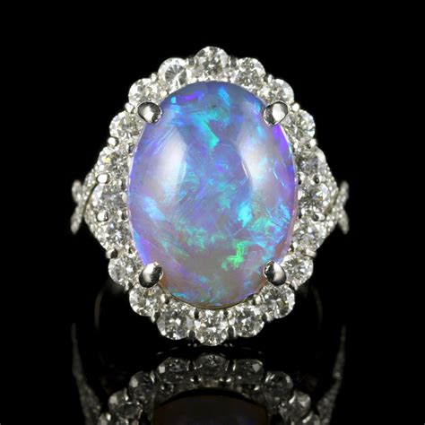 black opal ring platinum 16ct black opal antique