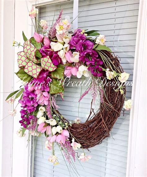 floral spring wreath summer wreath for door front door
