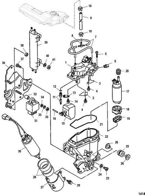 mercury marine  hp efi  stroke vapor separator parts