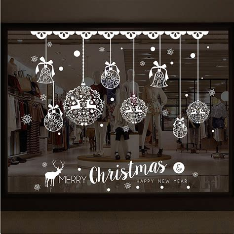 merry christmas shop window wall removable stickers christmas bell deer muurstickers home room