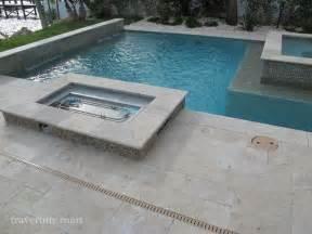 Ivory tumbled travertine pool tiles and pavers modern pool miami