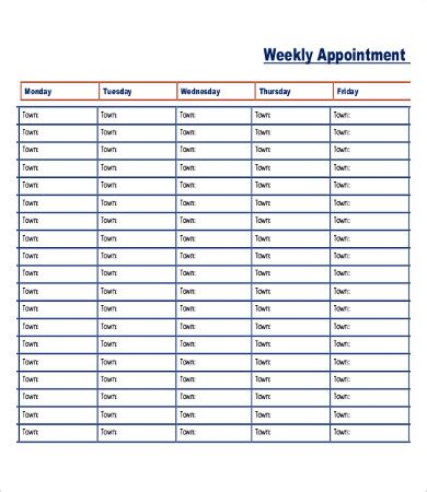 Printable Appointment Schedule 12 Free Excel Pdf Documents Download Free Premium Templates Monthly Appointment Schedule Template