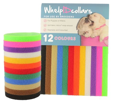 id collar 12 whelpidcollars whelping puppy kitten id velcro collar bands for breeders ebay