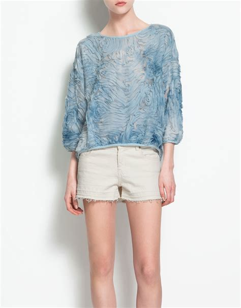 zara in blue lyst zara tie dye top in blue 434 lyst