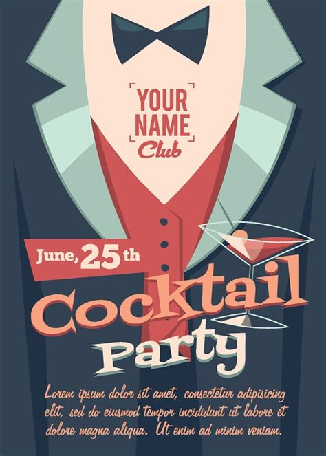vintage cocktail party poster vintage retro cocktail birthday party invitation invite