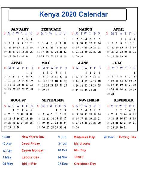 blank kenya  printable calendar  public holidays