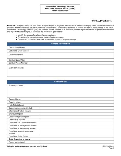 professional post event analysis report template exle