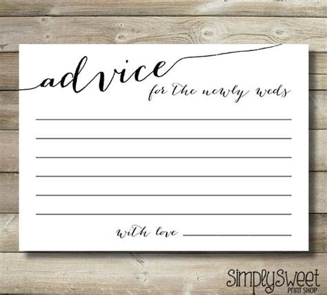 advice template wedding advice cards for the newlyweds and groom