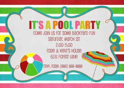 pool party free invitations template
