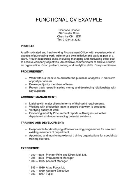 exle of functional resume for functional resume template sle resume cover letter format