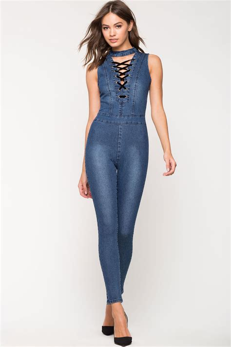 Lace Up trendy fashion lace up jumpsuit designers
