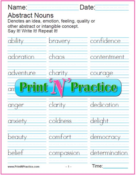 noun worksheets common and proper abstract collective