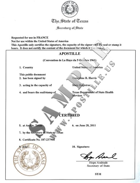 apostille template authentications of documents state