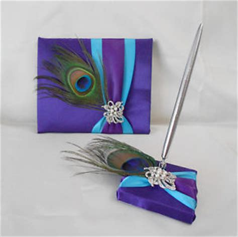 the color purple book price peacock feather purple turquoise guest book pen set