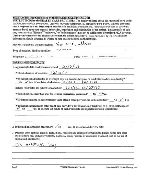 fmla form fmla for doctors and health professionals