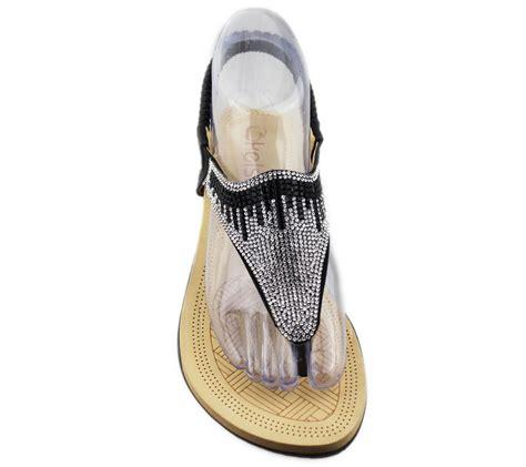 soft sole shoes womens flat sandals diamante toe post summer