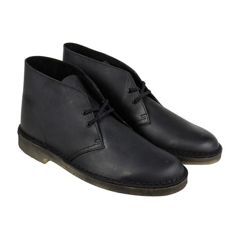 clarks desert boot mens black leather casual dress lace up