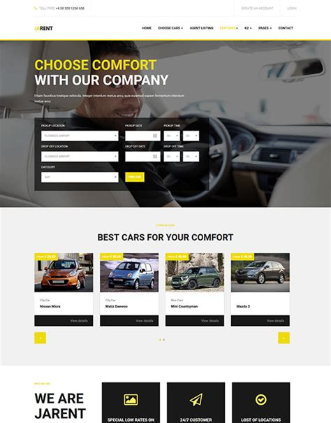 Ja Rent Responsive Joomla Template For Vehicle Rental Service Joomla Templates And Rental Website Template Free