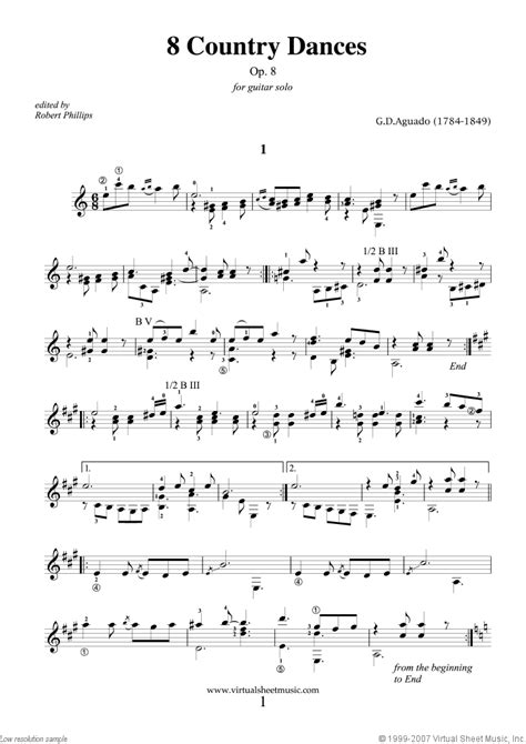country music guitar pdf aguado country dances 8 op 8 sheet music for guitar solo
