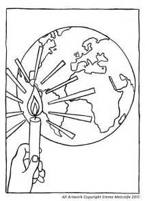 cafod colouring sheet illustration light of the world