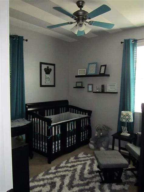 Grey Chevron And Teal Or Turquoise Boys Nursery Or Room And Black Boys Room