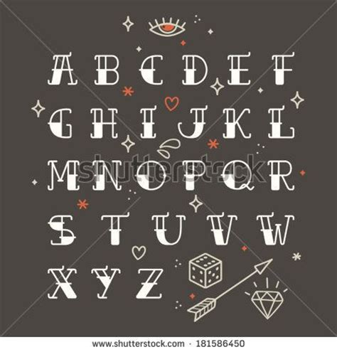 tattoo old school letters poster tattoo style font with rounded corners black