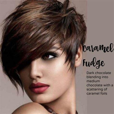 pixie hair cut with a caramel colour caramel fudge and a great asymmetrical pixie cut sassy