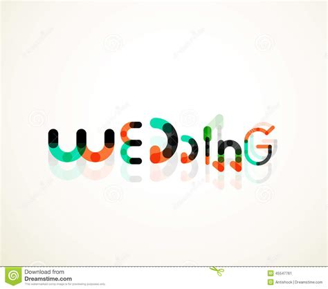 Wedding Fonts Lines by Wedding Word Font Concept Design Stock Vector Image