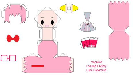 Vocaloid Papercraft - vocaloid lollipop factory luka papercraft by