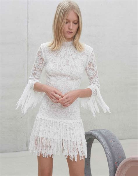 lady sonia in tiny dress alexis sonia short lace dress w fringe in white lace