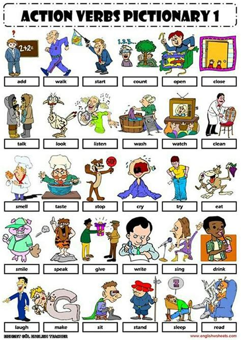 verbs pictionary 1 travail verbs and