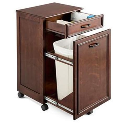 Rolling Kitchen Pantry Cabinet Walnut Rolling Mobile Kitchen Trash Bin Cabinet Storage