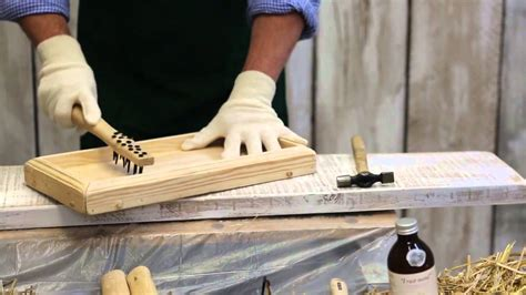 how to woodwork using quot i worm wood quot for wood furniture distressing
