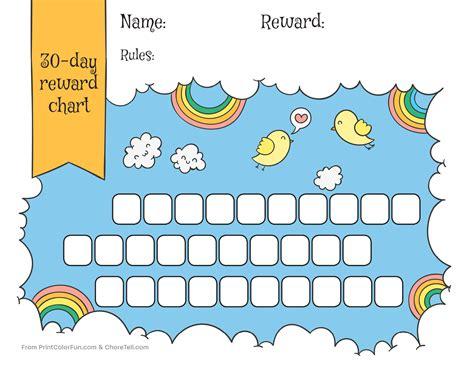 free printable animal reward charts rainbow sky 30 day reward chart for kids free