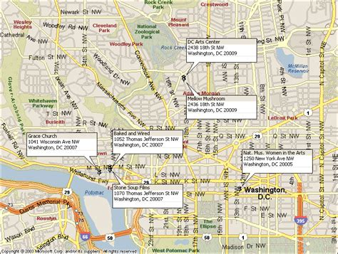 washington dc map nw georgetown theatre company swan day venues