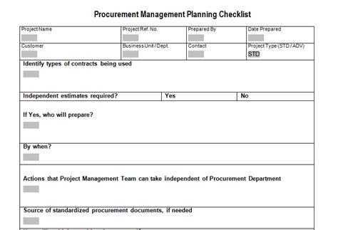 procurement document template procurement management planning checklist for