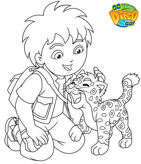 Diego And Baby Jaguar Coloring Pages