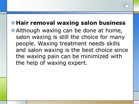 sle business plan hairdressing salon hair removal waxing business plan