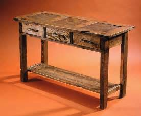rustic sofa table rustic console and sofa tables in barnwood and tile
