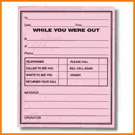 while you were out template search results for printable phone message template