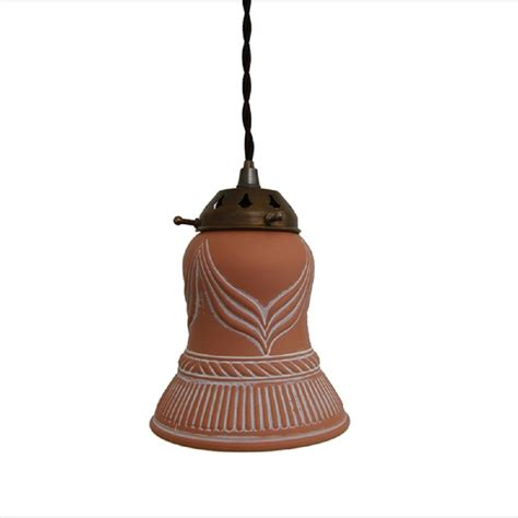 Bell Pendant Light Small Terracotta Bell Pendant Light Hanging On Braided Cable