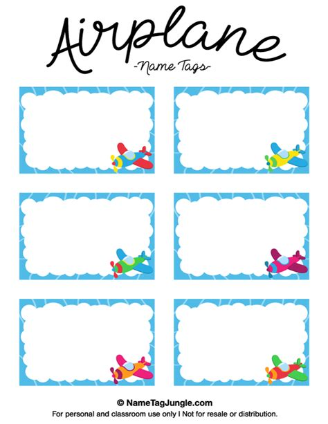 Plce Cards Template Where You Can Cut Page Into Four by Free Printable Airplane Name Tags With A Blue Border And