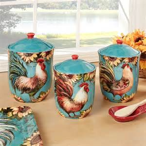 sunflower canisters for kitchen sunflower rooster turquoise kitchen canister set