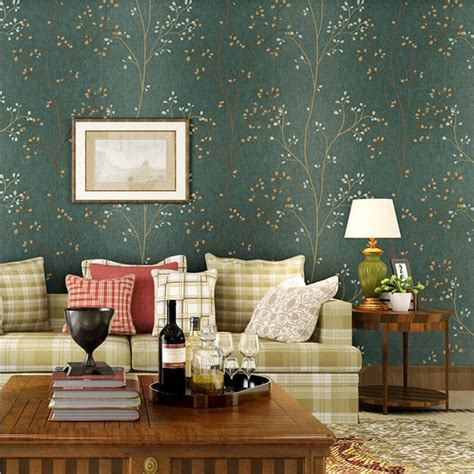 beibehang american retro dark green leaf wallpaper bedroom